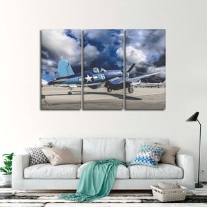 Vought F4U Corsair Multi Panel Canvas Wall Art - Airplane