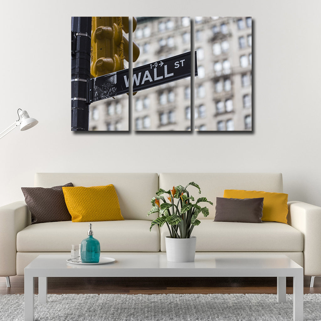 wall street multi panel canvas wall art elephantstock. Black Bedroom Furniture Sets. Home Design Ideas