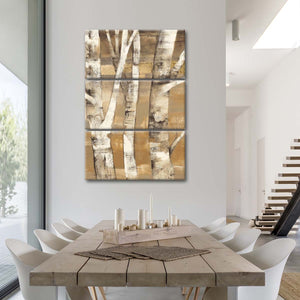 Wandering Through the Birches II Multi Panel Canvas Wall Art - Abstract