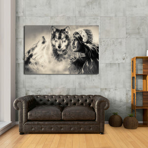 Warrior with Wolves Multi Panel Canvas Wall Art - Native_american