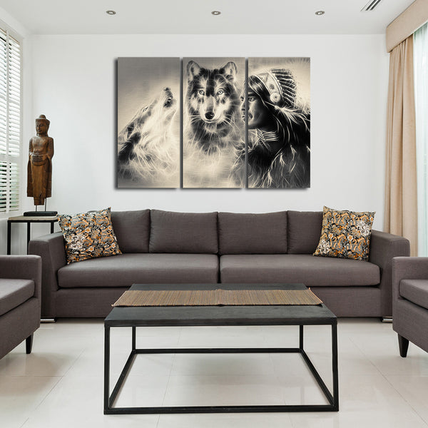 Warrior with Wolves Multi Panel Canvas Wall Art