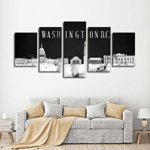 Washington D.C. Watercolor Skyline BW Multi Panel Canvas Wall Art - City