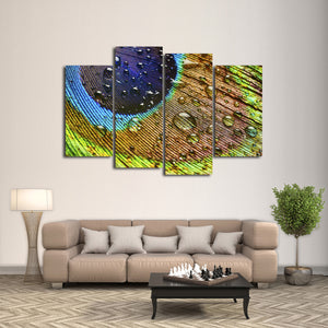 Water Drop Feathers Multi Panel Canvas Wall Art - Color
