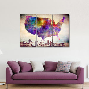 Watercolor USA Map Masterpiece Multi Panel Canvas Wall Art - Usa_map