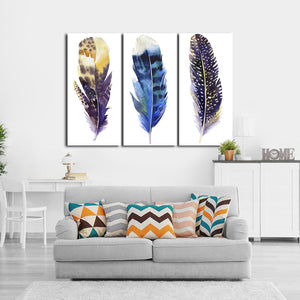 Watercolor Feather Multi Panel Canvas Wall Art - Color