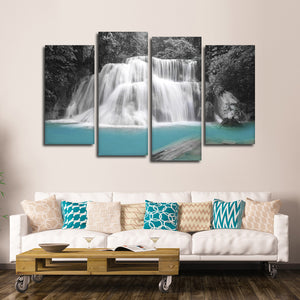 Waterfall In Thailand Pop Multi Panel Canvas Wall Art - Nature