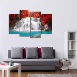 Waterfall in Thailand Multi Panel Canvas Wall Art - Nature