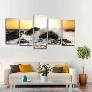 Waves Splashing Multi Panel Canvas Wall Art - Surfing