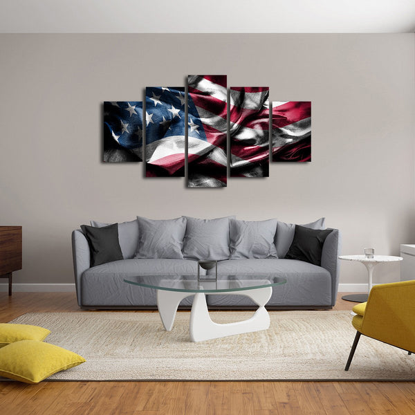 Waving America Flag Multi Panel Canvas Wall Art