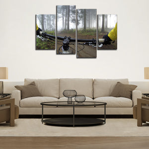 Weekend Cycling Multi Panel Canvas Wall Art - Bicycle