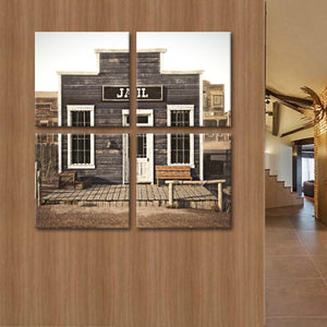Western Jail Multi Panel Canvas Wall Art - Western