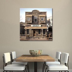 Western Town Sheriff Canvas Wall Art - Western