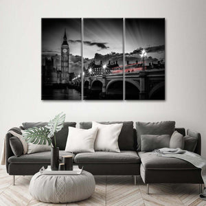 Westminster Bridge Sunset Multi Panel Canvas Wall Art - United_kingdom