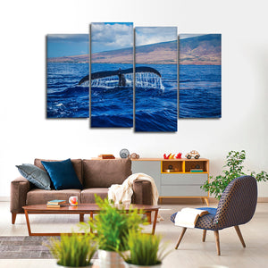 Whale At Sunset Multi Panel Canvas Wall Art - Whale
