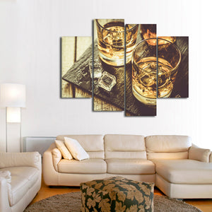 Whiskey Rocks Multi Panel Canvas Wall Art - Whiskey