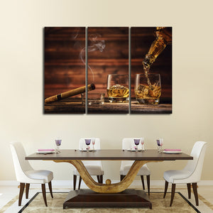 Whisky Society Multi Panel Canvas Wall Art - Whiskey