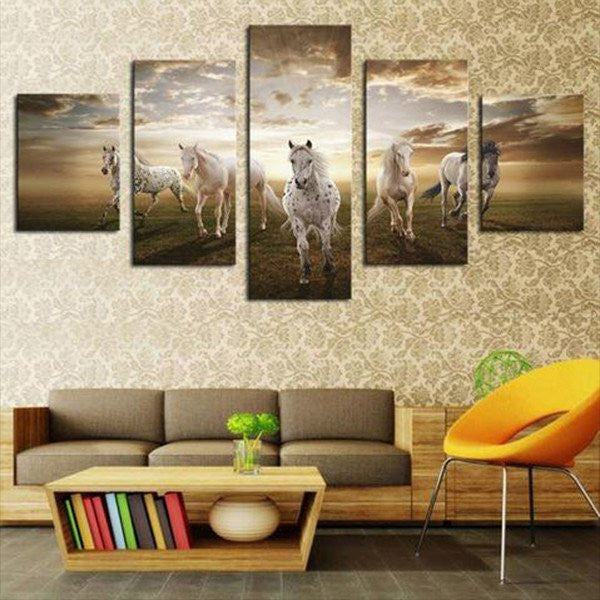 White Horses Multi Panel Canvas Wall Art | ElephantStock