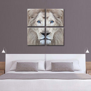 White Lion's Eyes Multi Panel Canvas Wall Art - Lion