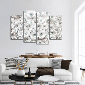 White Roses Multi Panel Canvas Wall Art - Rose