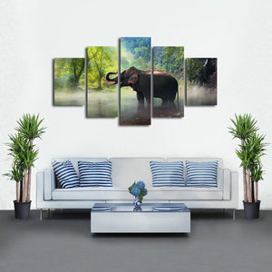 Wild Elephant Multi Panel Canvas Wall Art - Elephant