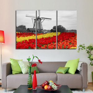 Windmill Tulip Pop Multi Panel Canvas Wall Art - Nature