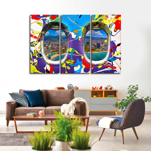 Window Seat Island View Multi Panel Canvas Wall Art - Airplane