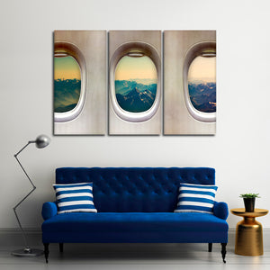 Window Seat Mountains Multi Panel Canvas Wall Art - Airplane