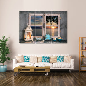 Window to the Ocean Multi Panel Canvas Wall Art - Beach