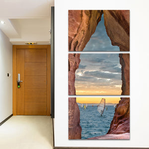 Windsurfing Cave Multi Panel Canvas Wall Art - Beach