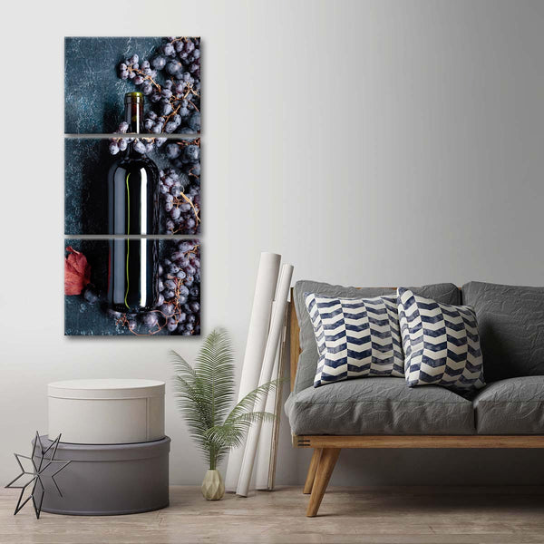 Wine And Grapes Multi Panel Canvas Wall Art