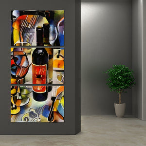 Wine Bottle Still Life Multi Panel Canvas Wall Art - Winery
