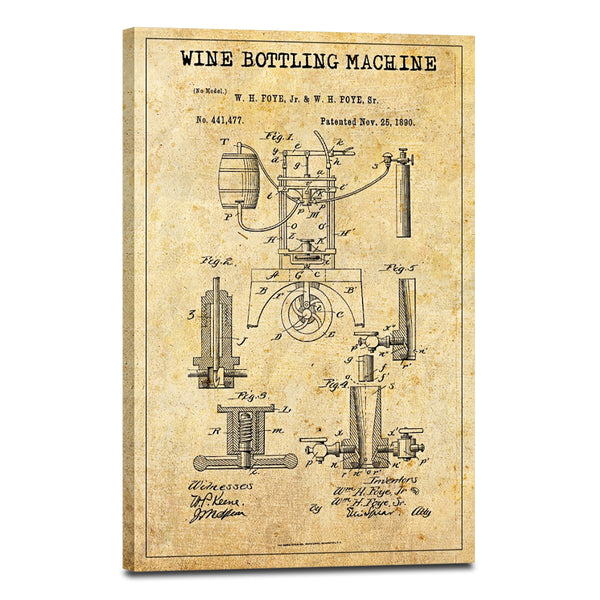 Wine Bottling Machine Patent Canvas Wall Art | ElephantStock