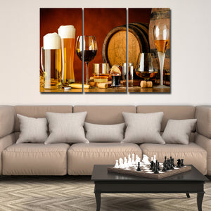 Wine Spirits Beer Multi Panel Canvas Wall Art - Winery