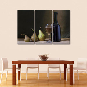 Wine and Pears Multi Panel Canvas Wall Art - Winery