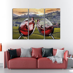 Cheers To Life Multi Panel Canvas Wall Art - Winery