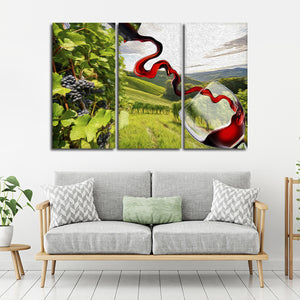 Morning In Sonoma Multi Panel Canvas Wall Art - Winery