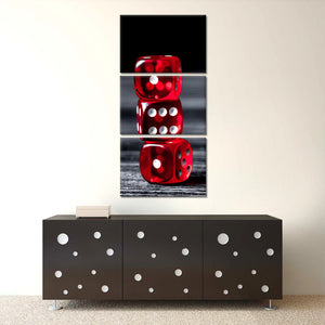 Winning Dice Number Multi Panel Canvas Wall Art - Gambling