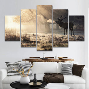Winter Hunting Multi Panel Canvas Wall Art - Deer