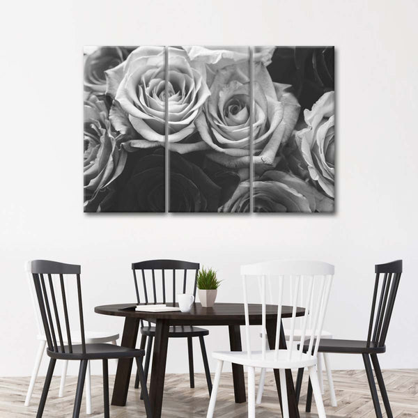 Withering Roses BW Multi Panel Canvas Wall Art