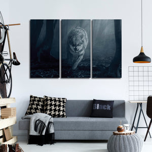 Ferocious Wolf Multi Panel Canvas Wall Art - Wolf