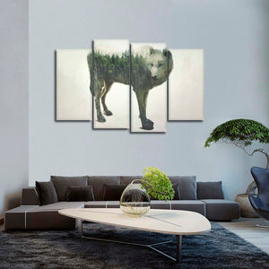 Wolf Exposure Multi Panel Canvas Wall Art - Wolf
