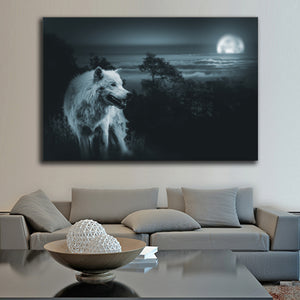 Wolves Night Multi Panel Canvas Wall Art - Wolf