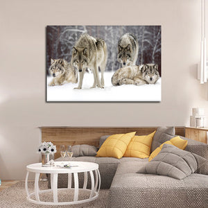 Wolf Pack Multi Panel Canvas Wall Art - Wolf