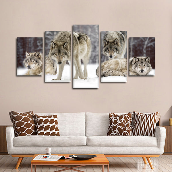 Wolf Pack Multi Panel Canvas Wall Art