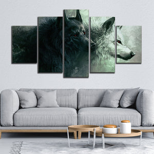 Wolves on the Hunt Multi Panel Canvas Wall Art - Wolf