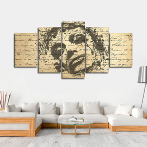 Woman In Ink Multi Panel Canvas Wall Art - Portrait