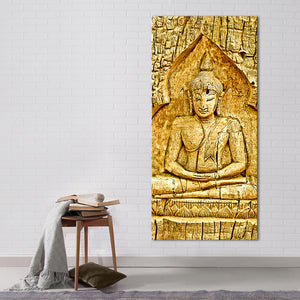 Wood Carving Buddha Multi Panel Canvas Wall Art - Buddhism