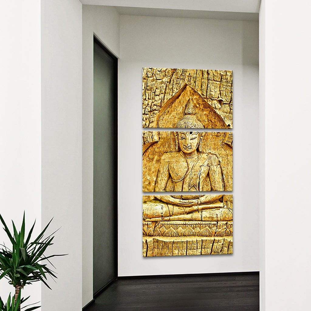 wood carving buddha multi panel canvas wall art elephantstock. Black Bedroom Furniture Sets. Home Design Ideas