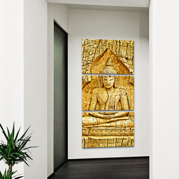 Wood Carving Buddha Multi Panel Canvas Wall Art