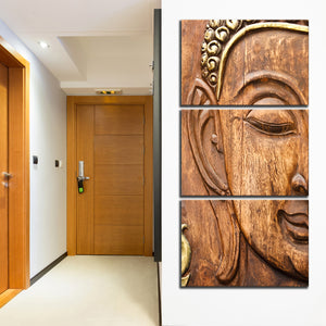 Wooden Buddha Multi Panel Canvas Wall Art - Buddhism